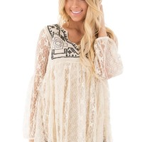 Oatmeal Lace Peasant Tunic with Embroidered Detail