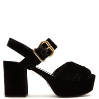 Cross-strap velvet platform sandals | Prada | MATCHESFASHION.COM US