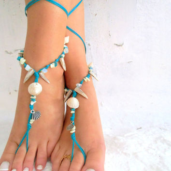 Barefoot Sandals Barefoot Beach Jewelry barefoot sandal, STONES fylntisi SILVER SHELL frontHippie Sandals Foot Jewelry Toe Thong