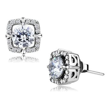 Vera Earrings - Women's Square Shaped Clear CZ Stainless Steel Earrings