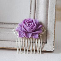 Lilac Purple Rose Flower Matte Silver Filigree Hair Comb. Purple Resin Flower Silver Hair Comb. Wedding Bridal Comb, Bridesmaid Hair Comb