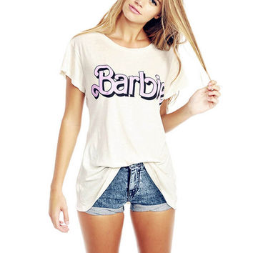 Barbie Print Short Sleeve Graphic Tee T-Shirt