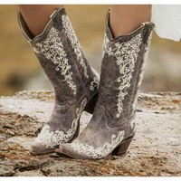 Corral Distressed Brown with Bone Embroidery Cowgirl Boots