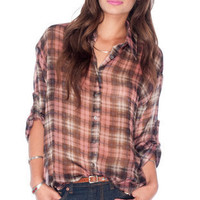 It's Not So Plaid Button Down Shirt in Pink :: tobi