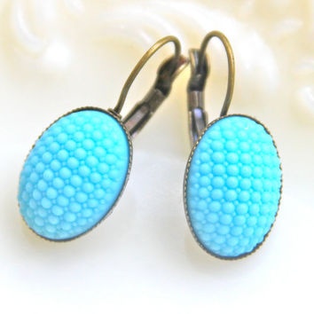 Aqua Blue Oval Hobnail Drop Earrings - Vintage My ORIGINAL Collection Quilted Glass  Antiqued Brass Lever Back  Bridesmaids Dangle Earrings