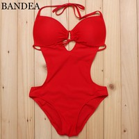 New One Piece Swimsuit Push Up Swimwear Women Solid Color Beach Bodysuit Swimming Suit Women Sexy Swimwear One Piece