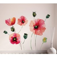 Wallpops 'Watercolor Poppies' Wall Decals - Red