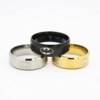 The Hobbit Stainless Steel Jewelry Lord Rings BatMan women's trendy Black Golden Silver Ring CBRL All website the lowest price