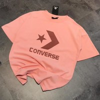 Converse Trending Women Men Casual Print Short Sleeve Round Collar T-Shirt Top