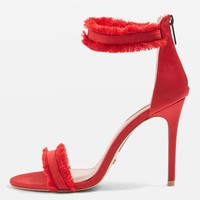 RILEY Red Two Part Heel Sandals - Shoes