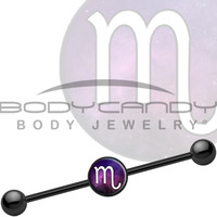 Black Titanium Galaxy Zodiac Scorpio Industrial Barbell | Body Candy Body Jewelry