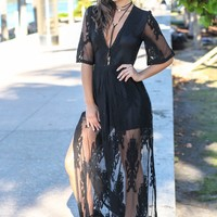 Black V-Neck Lace Maxi Romper