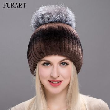 Fur Hat For Female With Luxury Fluffy Fox Fur Ball Russian Hats New Winter Warm Cap Genuine Rabbit Fur New Beanies Hats THY17-08