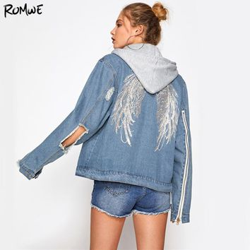 Wings Back Embroidery Jacket Blue Denim Coat Women Cut Out Punk Hooded Jackets Autumn Zip Long Sleeve Lapel Jacket
