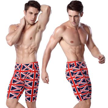 UK Flag Man Beach Boxing Elastic Band Knee Length Swimming Briefs Surf board Bathing Swim Trunks Man Strong Boxing Red HQMS012
