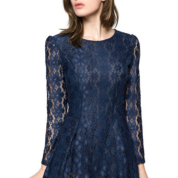 Sapphire BlueScoop Neck Lace Long Sleeves Burnt-Out Mini Dress