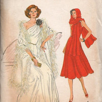 Vogue Sewing Pattern Designer Fashion 1970s Disco Era One Shoulder Dress Evening Gown Flared Skirt Stole Wrap Bust 32