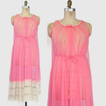 1960s Deena PINK CHIFFON NIGHTGOWN / 60s Sheer Full Sweep Nightgown with Ivory Lace and Belted Waist, osfm