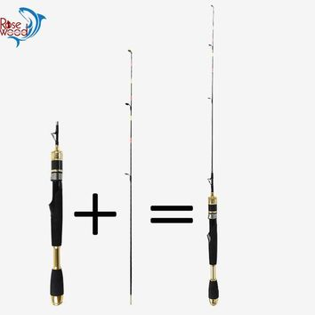 ROSEWOOD 83cm 2-Piece Portable Winter Ice Fishing Pole Short Carbon Rod Ice Mini Fishing Spinning Rod Fishing Tackle