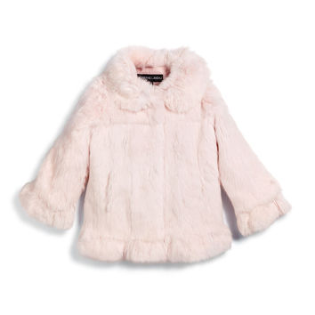 Button-Front Rabbit-Fur Coat, Pink, Size 2-16, Size: