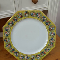 ROSENTHAL charger hexagonal /stunning Large plate /yellow floral border gold rim /excellent condition