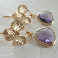 Purple dangle earrings Spring  fashion, Preppy style Gold earrings, Matt gold leaf earrings with clear tanzanite color faceted glass