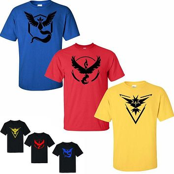 PP  Go Team T shirts Men's Shorts Sleeve  male Tops Tees Casual T shirts For Man Pokeball nerd Team Black Tee shirtKawaii Pokemon go  AT_89_9