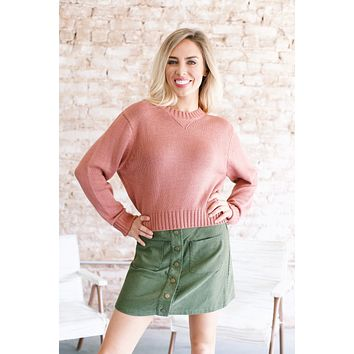 Percy Cropped Sweater, Indie Pink