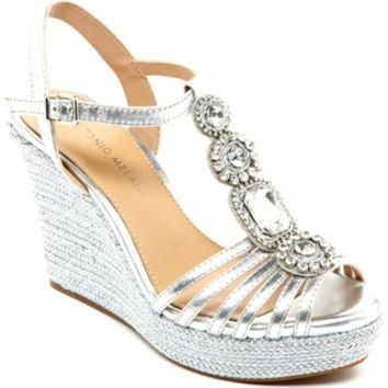 Antonio Melani Ritah Jeweled T-Strap Wedges | Dillards.com