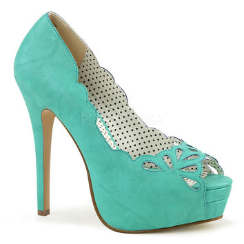 Pin Up Couture Bella Teal Faux Platforms