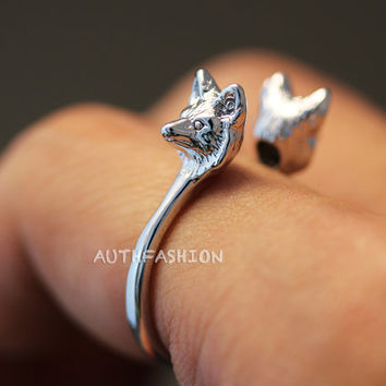 Tiny Animal Twins Ring Horse Kitty Cat Little Bunny Bambi Fox Adjustable Free Size Open Wrap Ring Silver tone plated gift idea