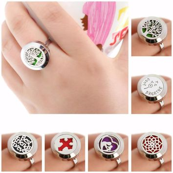 20mm Tree of Life Diffuser Locket Ring Resizable Dropship Essential Oils 316L Stainless Steel Aromatherapy Ring 10pcs free pads