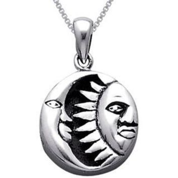 Sterling Silver Celestial Sun Moon Black Onyx Necklace