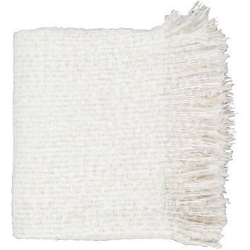 Madurai Tassel Throw Blanket - White
