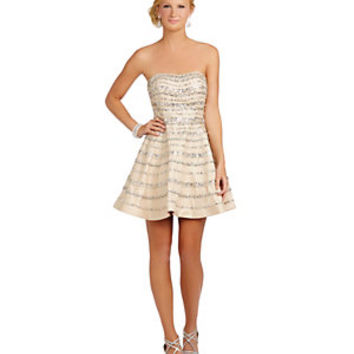 Glamour by Terani Couture Beaded-Stripe Party Dress | Dillard's Mobile
