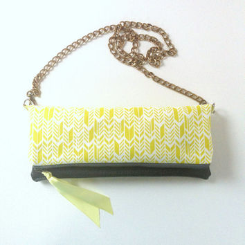 Crossbody Clutch Purse, Neon Yellow, Fold Over Vegan Leather and Chain Strap