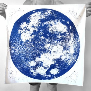 Navy on White, Black or Natural Full Moon Bandana, hand printed in Portland, reusable cloth with space stars and animal constellations print