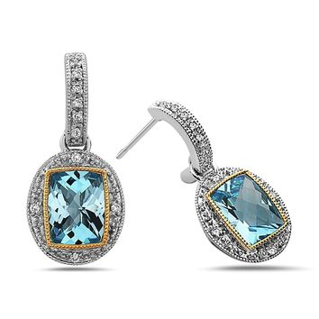 TARA Legacy Radiant Cut Gemstone Diamond Sterling Silver and 14k Gold Earrings, (.08cttw, H Color, SI Clarity)