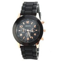 Candy-colored White Geneva Silicone Colorful couple of style quartz watches