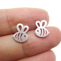 Adorable Bumble Bee Insect Shaped Stud Earrings in Silver | Animal Jewelry