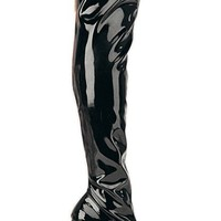 """Pleaser Boots - Kiss-3000 Stretch Black Patent Thigh High Boots with 6"""" Spike Heel"""