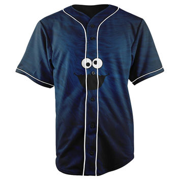 Cookie Monster Blue Button Up Baseball Jersey
