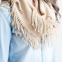 Fall's Fringy Infinity Scarf Oatmeal - Final Sale