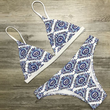 Fashion Retro Totem Print Triangle Bikini Set Swimsuit Swimwear