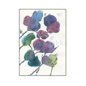 "Watercolor Painting Flower Art Original Blue Purple Green Yellow Nature Inspired Fantasy 81/4""x57/8"" / 21x14.8cm"