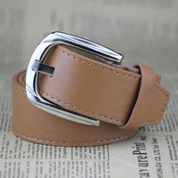Camel Colored Faux Leather Pin Buckle Belt