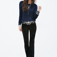 FOREVER 21 Fuzzy Eyelash Knit Sweater Navy