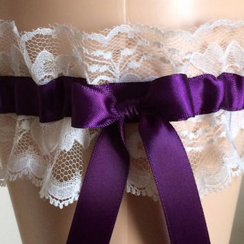 Plum Purple and Ivory Lace Wedding Garter, Prom Garter, Bridal Lace Garter, Keepsake Garter, Wedding Accessories