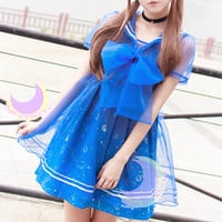 Dreamy Sailor Moon Organza Sailor Collar OP Dress SP141133 from SpreePicky