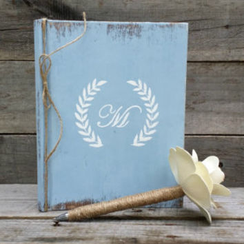 Personalized Rustic Wedding Guest Book with Twine Wrapped Flower Pen, Bridal Wedding Gift, Distressed Guest Book, Wedding Advice Book,